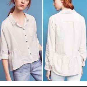 Anthro Holding Horses linen Button Down Blouse XS